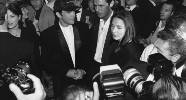Spanish actor Antonio Banderas arrives at a party for the release of the film 'Desperado', in which he plays the lead, during the Cannes Film Festival, May 1995.  (Photo by Richard Blanshard/Getty Images)