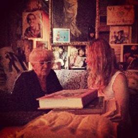 Joanna Longawa with Lina Wertmüller in her studio in Rome