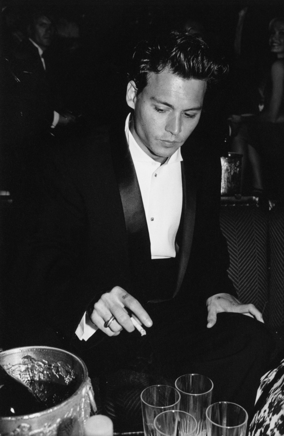 American actor Johnny Depp attends a party for the film 'Ed Wood', in which he plays the lead, at the Cannes Film Festival, France, May 1995. (Photo by Richard Blanshard/Getty Images)